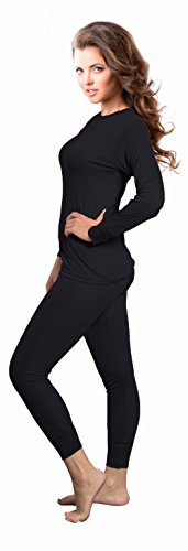 Rocky Womens Thermal 2 Pc Long John Underwear Set Top and Bottom Smooth Knit (Medium, Black) (Thermal Sports Underwear compare prices)