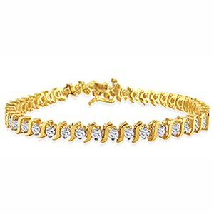"3 Carat Diamond 14k Yellow Gold ""S"" Link Tennis Bracelet (7"")"