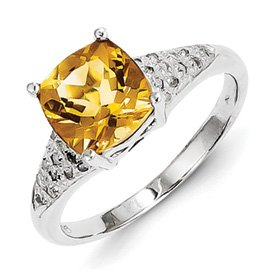 Genuine IceCarats Designer Jewelry Gift Sterling Silver Rhodium Citrine Diamond Ring Size 6.00