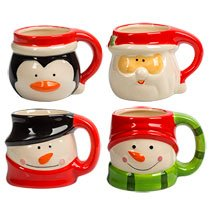 TBC HOME DECOR Dolomite Christmas Character Mugs, 15 oz. - SET OF 4