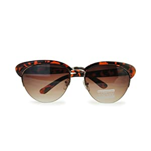 TORTOISE SHELL CAT EYE CLUBMASTER STYLE SUNGLASSES