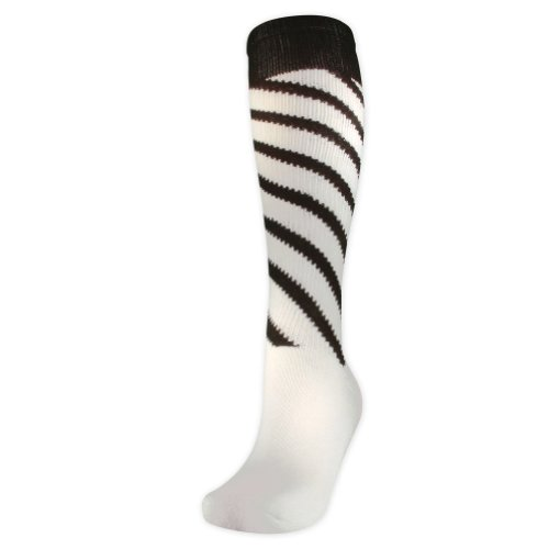 Twin City Candy Stripe Knee High Volleyball Socks - SIZE: S, COLOR: White/Black