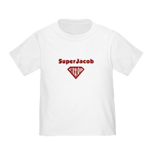 Personalized Superjacob Jacob Superman Super Hero Baby Infant Toddler Kids Shirt - Customize With Any Boy Or Girls Name, Christmas Present Custom Superhero Gift Collection front-1035428