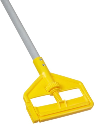 Rubbermaid Commercial FGH145000000 Commercial Invader Fiberglass Side-Gate Wet-Mop Handle, Gray/Yellow