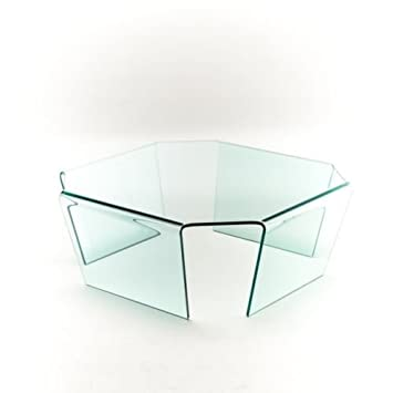 Group diseño mesa centro Malibu Cristal Transparente ottagonano a araña vt002