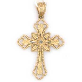 14k Solid Yellow Gold Real Diamond Cross Pendant Charm