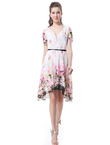 He03782Wh10, White, 8Us, Ever Pretty Printed Easter Casual Summer Dress 03782