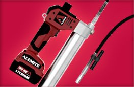 Alemite 595-B 18V Lithium-Ion Powered Grease Gun, 8,000 Psi Pressure, 25 Cartridges Per Charge, 6.0 Oz./Min Flow Rate, 2 Batteries