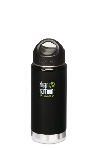 Klean Kanteen Wide Mouth Insulated Bottle (Stainless Loop Cap) - Black Eclipse 16 Oz. front-1003500