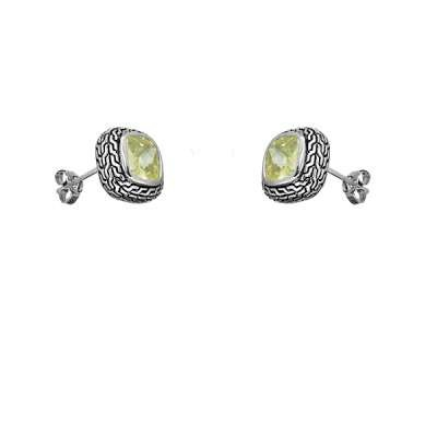 Fine Jewelry Sterling Silver Earrings Center Square Peridot CZ and Brilliant Black Finish Design(WoW !With Purchase Over $50 Receive A Marcrame Bracelet Free)