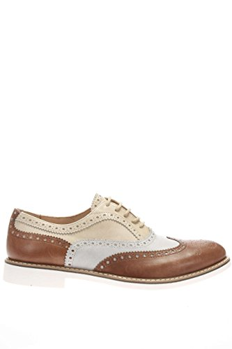 DSE103461.Derby ricamo in pelle bicolor.Marrone.44