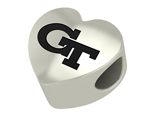Georgia Tech Yellow Jackets Sterling Silver Heart Bead Fits Most European Style Charm Bracelets