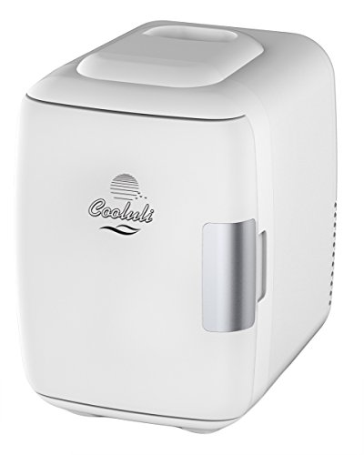 Cooluli Mini Fridge Electric Cooler and Warmer (4 Liter / 6 Can): AC/DC Portable Thermoelectric System w/ USB Power Cord (White) (Mini Fridge 4 Liter compare prices)