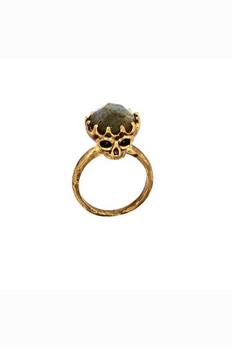 House of Harlow - Double Sided Skull Ring with Labradorite Stone Top (Gold)