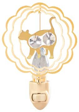 Cat In Ruffled Circle In 24K Gold Plated Night Light..... With Clear Swarovski Austrian Crystal front-535345