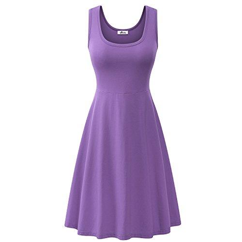 Herou Women Summer Beach Casual Flared Midi Tank Dress (X-Large, Purple)