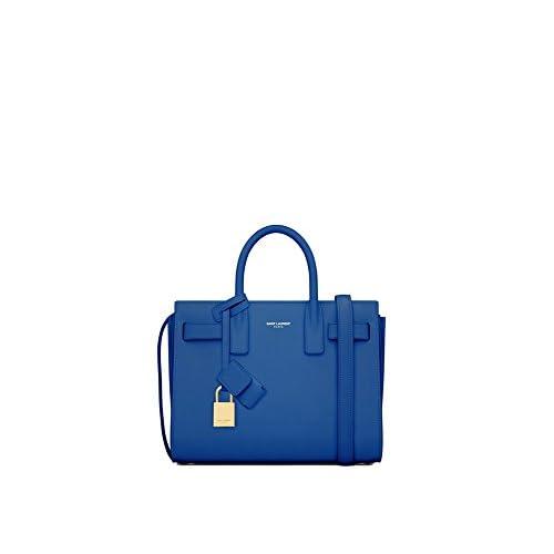 (サンローランパリ) Saint Laurent Classic Nano Sac De Jour bag in Black,Blue,Royal Blue,Fog,Lipstick Fuchsia,Lipstick Red Leather (並行輸入品) LASTERR (Royal Blue)