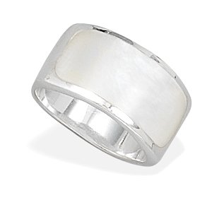 Sterling Silver White Shell Inlay Ring / Size 9