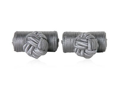 Classic Gray Silver Silk Knot Log Cufflinks With Velour Pouch by Cuff-Daddy