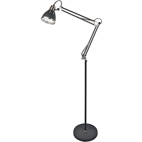 GLORIOUS-LITE Metal Floor lamp, Adjustable Floor Lamp with On Off Switch, Architect Swing Arm Standing Lamp/Reading Light with Heavy Metal Based for Living Room, Bedroom, Office and Study Room