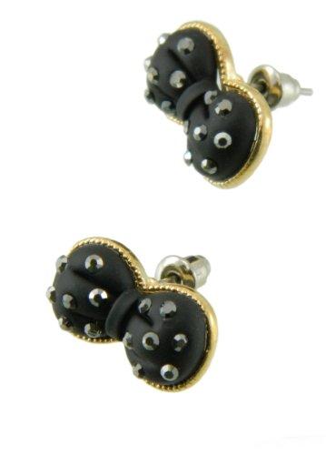 3D Black & 14K Gold Plated Rhinestone Crystal Bow Tie Ribbon Stud Earrings