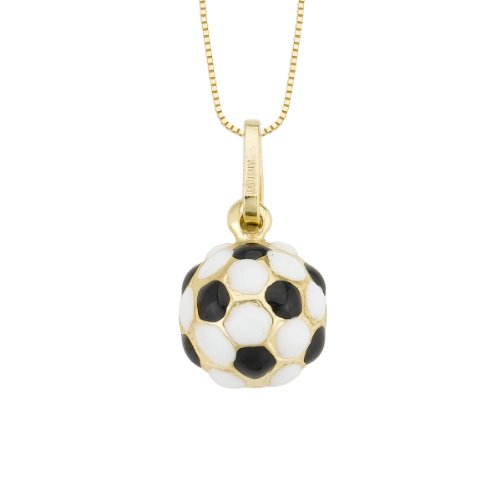 14k Yellow Gold Black and White Enamel Soccer Charm Pendant Necklace, 18