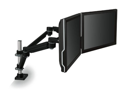 3M Easy Adjust Desk Mount Dual Monitor Arm, Space Saving Design, For Monitors Up To 20 Lbs And <= 30 In, Black