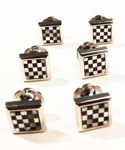 Lloyd Attree & Smith-Dress Shirt Studs Set Of Six Black White Mother Of Pearl In Gift Box