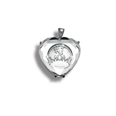 Nice Fashion Necklace Pendant Jewelry 925 Sterling Silver in.#1 MOM in. Heart Covered w/ Glass Design(WoW !With Purchase Over $50 Receive A Marcrame Bracelet Free)