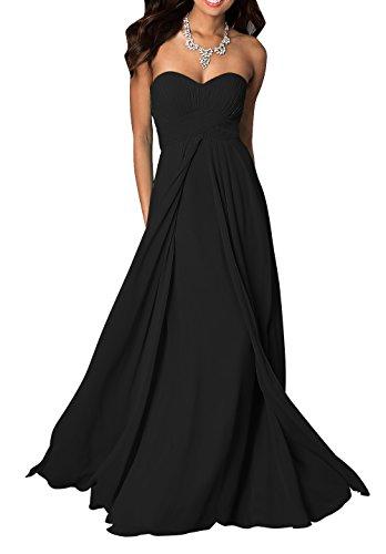 WeiYin Women's Chiffon Long Sweetheart Evening Gown Party Dresses Black US 26