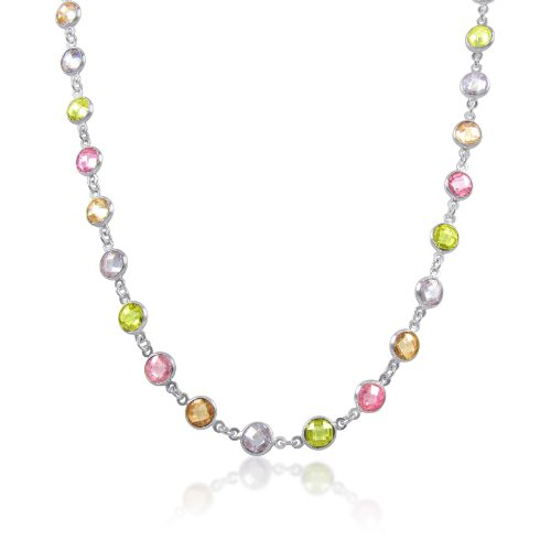Multi-Color 6mm Round CZ's Sterling Silver CZ by the Yard Necklace 17