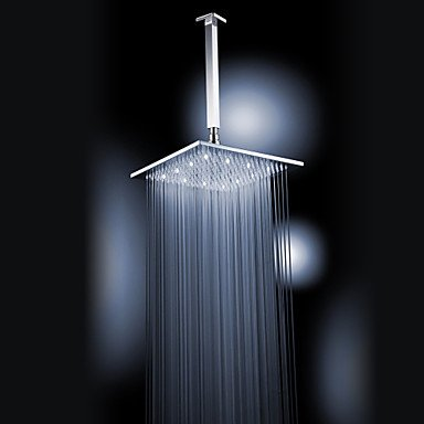 Chrome Finish Brass 12-Inch White Color Led Square Ceiling Shower Head