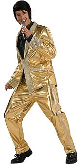 Deluxe Elvis Gold Lame Suit Costume - Small - Chest Size 34-36