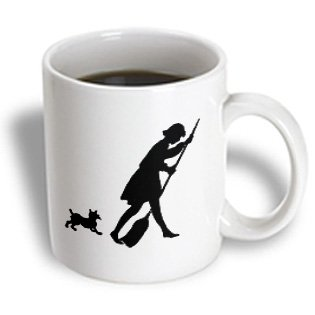 Florene Black And White - Cute Silhouette Of doggie Chasing Lady With Broom - 11oz Mug (mug_109467_1)
