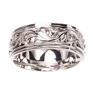 Women's 14k White Gold Brocade Engraved Carved Wedding Band (8 mm)
