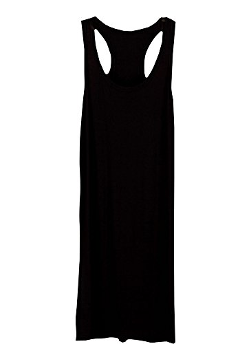 Shawhuaa Womens Basic Sleeveless Racerback Tank Dress Long T-shirt,Black,One Size