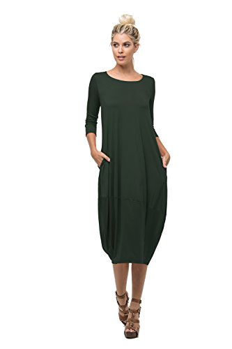 D6123 Ladies Round Neck Bubble Hem Long Dress W/ Pocket Coal-Black S