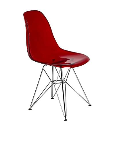 LeisureMod Cresco Molded Eiffel Side Chair, Transparent Red