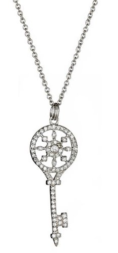Sterling Silver with CZ Kaleidoscope Key Necklace 18