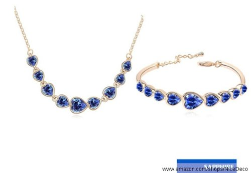 Nicedeco Je-Sw-Tz004-Blue,Swarovski Elements Austrian Crystal Jewelry Sets,Heart To Heart,Blue Necklace And Bangle(2-Piece Set),Elegant Style And Exquisite Craftsmanship