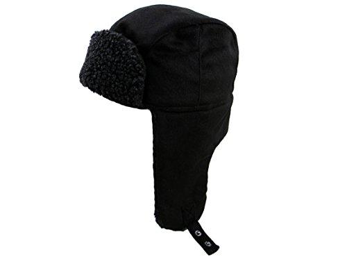 Ashopz Winter Lined Trooper Aviator Hat W/ Adjustable Earflap,Black