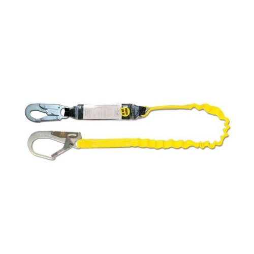 Guardian Fall Protection 01202 5-Foot Heavy Duty Single Leg Shock Absorbing Lanyard with Rebar Hook