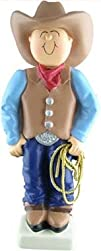 Ornament Central Male Cowboy Brown Hat Lasso Christmas