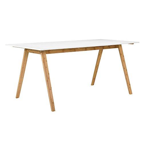 encasa-Esstisch-Bambus-Tischplatte-wei-lackiert-180x80cm-Esszimmer-Holz