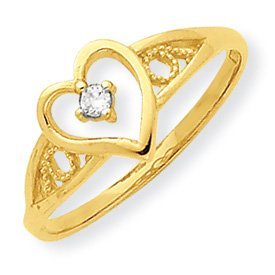 10K Yellow Gold Heart Shaped Cubic Zirconia Promise Ring (6)