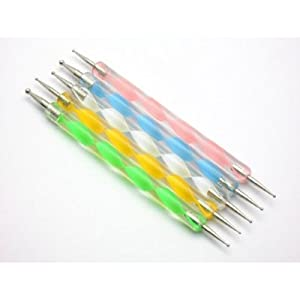 Dotting 5 X 2 Way Marbleizing Dotting Pen Set For Nail Art Manicure Pedicure