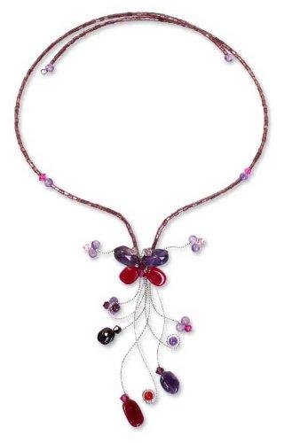 Amethyst beaded necklace, 'Butterfly Grace' 3.2