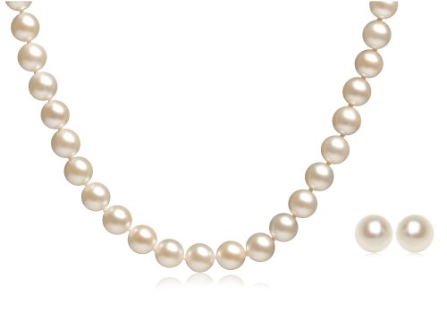 Akoya Gold Cultured Pearl Necklace and Stud Earring Set