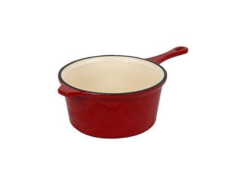 Field Chef Red Enameled Cast Iron Saucepan 3-Quart, Oven Safe 400 Deg, Slow Cook, Stew, One-Pot Meals, Rice, Pork, Lamb, Spaghetti, Beef, Chilli, Casserole, Soups, Chicken, Fish, Beans, Turkey, Gravy (Rice Saucepan compare prices)