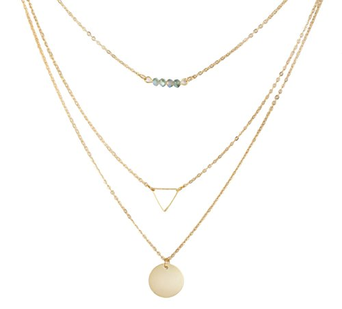 SUNNOW® Women's New Simple Triangle Sequins Pendant Multilayer Alloy Short Necklace